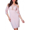 Sexy Lace Patchwork Off The Shoulder 3/4 Length Sleeve Midi Pencil Dress
