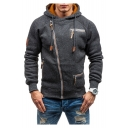 Heather Offset Zipper Front Raglan Sleeve Hoodie for Men