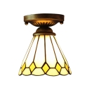Tiffany Stained Glass Cone Shade Semi Flush Ceiling Light with Yellow Diamond Pattern