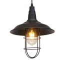 Industrial Style for Restaurant Cafe Black Single-Bulb Hanging Lamp with Barn Shade Cage