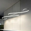 Best Lighting for Dining Room Kitchen 42.52 Inch Long 46W S Shaped LED Chandeliers White Aluminum 2-LED Curl  Pendant Lamp Ambient Warm White Neutral