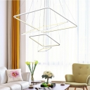 Integrated LED Warm White Neutral Light Ultra-thin Multi Tiered Rectangular LED Chandelier in White for Foyer Hallway Staircase Office