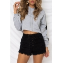 Casual Star Print Long Sleeve Chic Cropped Hoodie