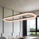 Crystal Beads Decoration Ring LED Chandelier Brushed Aluminum 50/65W 35.43