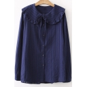 Plain Doll Collar Long Sleeve Button Front Leisure Linen Blouse
