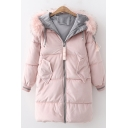 Long Sleeve Zip Closure Faux Fur Hood Trim Padded Hooded Coat