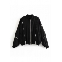 String Detail Stand Collar Long Sleeve Zip Up Jacket