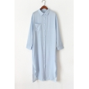 Lapel Collar Button Placket Long Sleeve Plain Split Side Maxi Shirt Dress