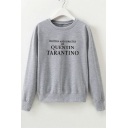 WRITTEN Letter Print Round Neck Long Sleeve Pullover Sweatshirt