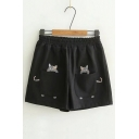 Elastic Waist Cat Embroidered Loose Woolen Shorts
