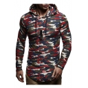 Camouflage Pattern Drawstring Hood Long Sleeve Slim Hoodie