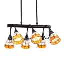Orange&White Grid Pattern Art Glass Shade Linear Chandelier in Black Finish 2 Sizes Available