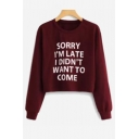 Simple Letter Print Round Neck Long Sleeve Causal T-Shirt