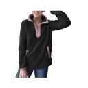 Contrast Trim Stand Collar Long Sleeve Plush Half-Zip Sweatshirt