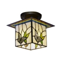 Creative Tiffany Stained Glass Semi Flush Mount with Butterfly Cube Shade 7.09