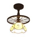 Vintage Wheel Design Semi Flush Ceiling Light with Beige Flower Shape Shade for Foyer