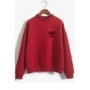 STRANGER Letter Floral Print Mock Neck Long Sleeve Sweatshirt