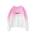Letter Heart Ombre Print Round Neck Long Sleeve Sweatshirt