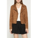 Suede Notched Lapel Collar Long Sleeve Offset Zip Front Plain Cropped Jacket