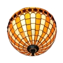 2-Light Tiffany Style Round Flush Mount Ceiling Fixture in Orange and White with 12