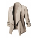 Lapel Collar Plain Long Sleeve Pleated Detail Open Front Blazer