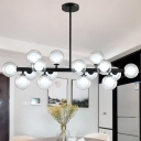 Showroom Gallery Bar LED Linear Pendant 16W 35.43 Inch Long Multi Light Bubbled Glass Chandelier in Black LED Accent Lights