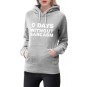 DAYS Letter Print Long Sleeve Leisure Hoodie