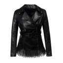Notched Lapel Collar Long Sleeve Offset Zip Closure Mesh Patchwork Hem Slim Leather Jacket