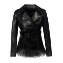 Notched Lapel Collar Long Sleeve Offset Zip Closure Mesh Patchwork Hem Slim Leather Jacket