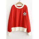 Color Block Floral Embroidered Round Neck Long Sleeve Sweatshirt