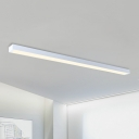Modern Seamless Connection Flush Mount White Aluminum 6000K Cold White LED Linear Ceiling Light (23.62in/35.43in/47.24in Length)