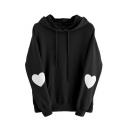 Heart Pattern Patch Long Sleeve Drawstring Hood Leisure Hoodie