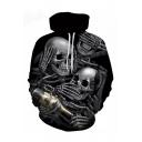 Drinking Skull Print Long Sleeve Casual Hoodie