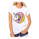 Unicorn Doughnut Pattern Round Neck Short Sleeve Pullover Tee