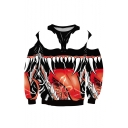 Hot Fashion 3D Monster Mouth Printed Crewneck Long Sleeve Red Sweatshirt