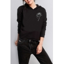 Fashion Rose Pattern Long Sleeve Regular Fit Casual Basic Hoodie
