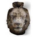 3D Asleep Lion Print Long Sleeve Oversized Hoodie