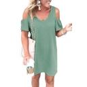 V Neck Short Sleeve Cold Shoulder Plain Mini A-Line Dress