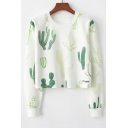 Cactus Print Round Neck Long Sleeve Cropped Sweatshirt