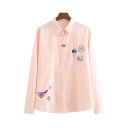 Lapel Collar Snail Embroidered Button Front Long Sleeve Shirt