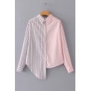Contrast Striped Panel Lapel Collar Button Front Long Sleeve Asymmetric Shirt