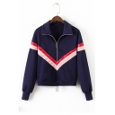 Contrast Striped Leather Patchwork Half-Zip Stand Collar Long Sleeve Sweatshirt