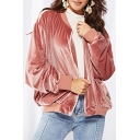 Cool Velvet Stand Collar Long Sleeve Plain Zip Up Baseball Jacket