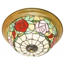 Red/Pink Rose Stained Glass Flush Mount Light with Aged Brass Canopy for Living Room