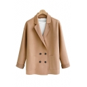 Notched Lapel Collar Long Sleeve Double Breasted Plain Classic Woolen Coat