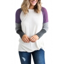 Color Block Raglan Long Sleeve Round Neck Soft T-Shirt