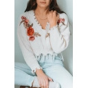 Floral Embroidered V Neck Long Sleeve Ripped Detail Cropped Sweater