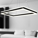 Black Rectangular LED Chandelier 23.6