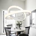 Novelty Pendant Satin White Innertube LED Chandelier 13.78