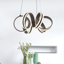 Brown Metal Modern LED Chandelier Indoor Decorative Lights Curved LED Chandeliers for Bedroom Living Room Cafe (Warm White)